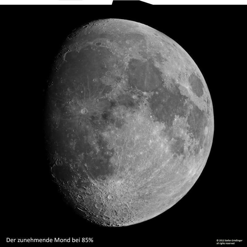 19. Juni 2013. zunehmender Mond bei 80%