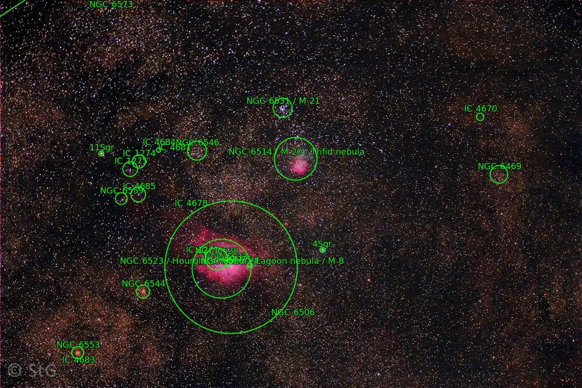 Lagunen- und Trifid-Nebel astrometriert