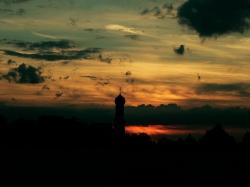 Sonnenuntergang bei der unsichtbaren Mofi