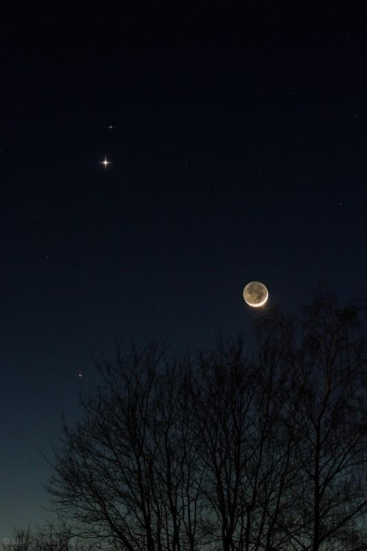20.02.2015 Konjunktion von Mars, Venus und Mond